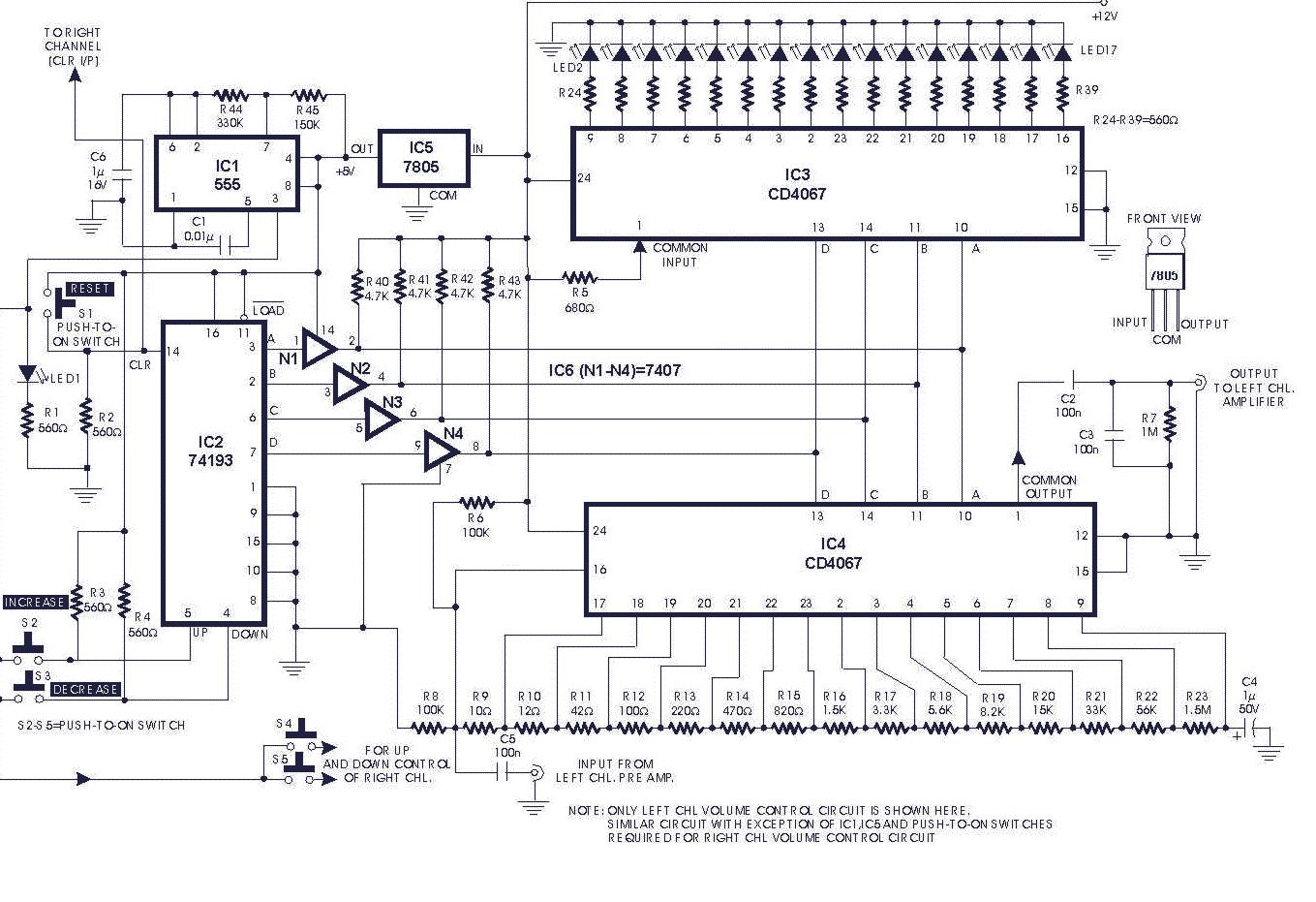 June 2011 Electronics Circuits For You 18w Audio Amplifier Circuit And Explanation Electronic Digital Volume Control 0614 No Comments Diagram