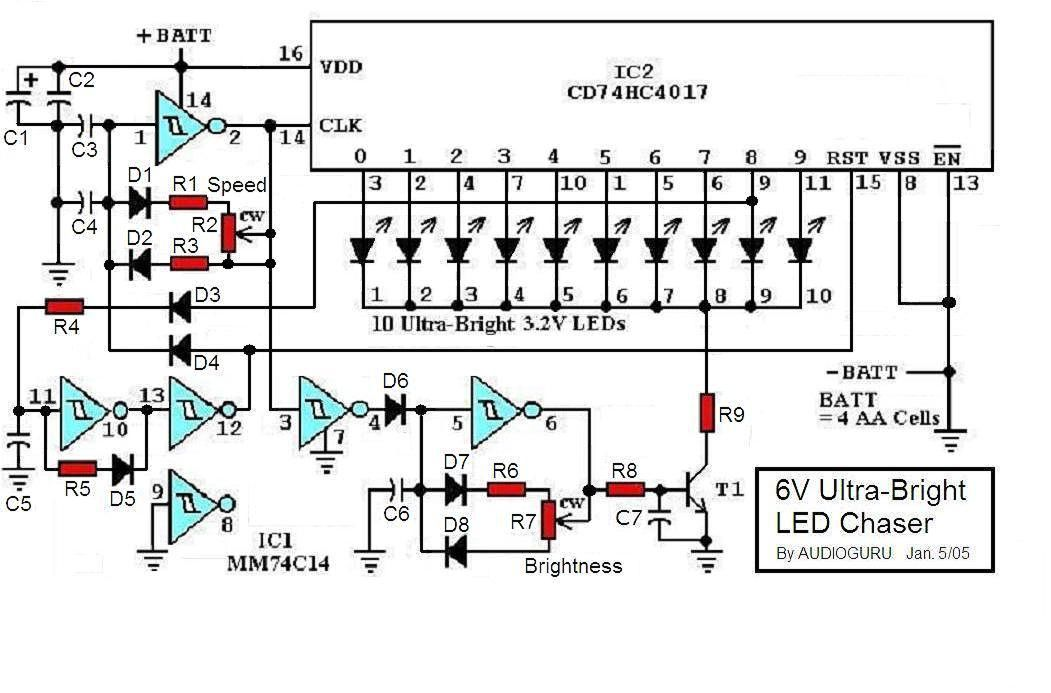 6v Ultra Bright Led Chaser Circuit Diagrams Schematics
