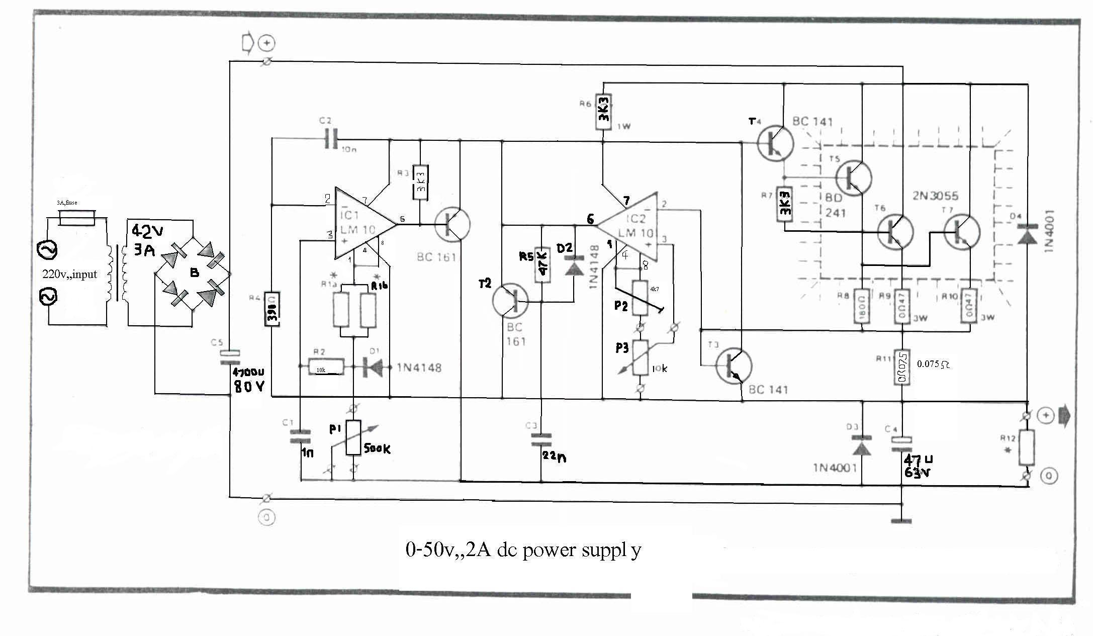 0 50v 2a bench power supply circuit diagrams schematics rh diy electronic projects com 110V 3-Way Switch Wiring Smoke Detector Interconnect Wiring-Diagram